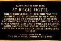 セントレジス ニューヨークの定礎銘