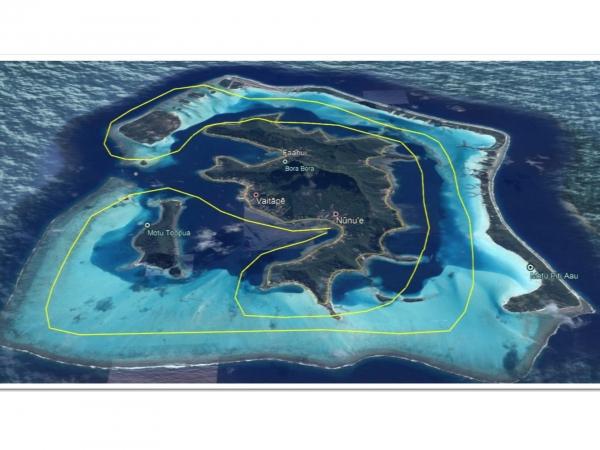 ボラボラ島・1周 ヘリコプター上空遊覧(20分)ツアー